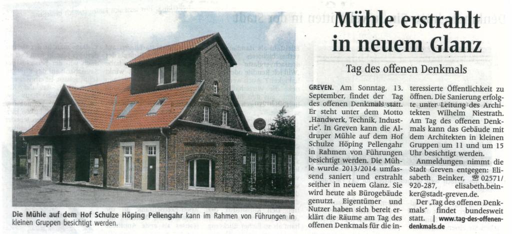Westfälische Nachrichten 29.08.2015 Wassermühle Aldrup Greven